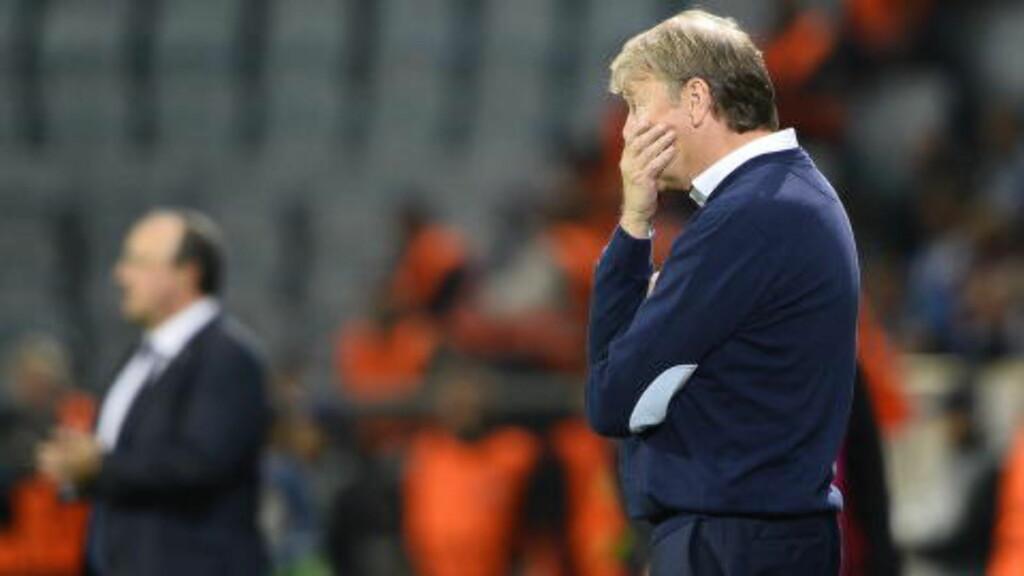 TUNG KVELD: Åge Hareides lag ble veiet og funnet for lett mot Rafael Benitez' Real Madrid i kveld. Foto: Anders Wiklund / TT / NTB Scanpix
