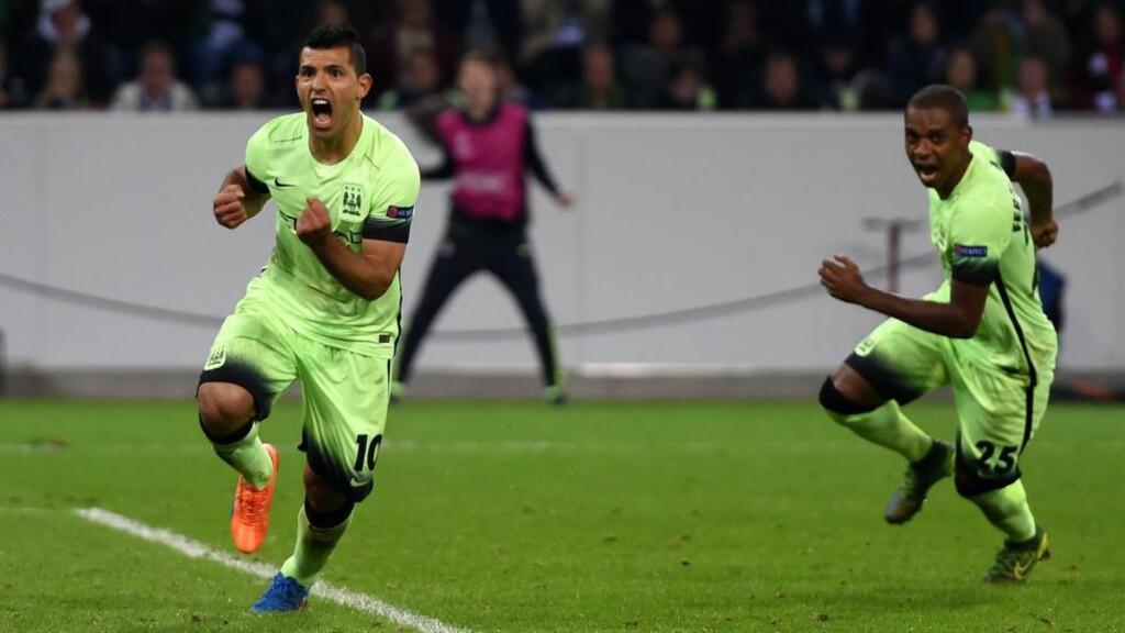 AVGJORDE:  Sergio Agüero ble matchvinner på tampen. Foto: AFP PHOTO / PATRIK STOLLARZ