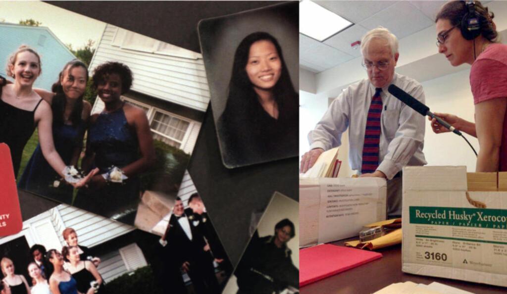 FØRSTE SESONG: Til venstre: Bilder som var stilt ut under begravelsen til 18 år gamle Hae Min Lee. Lee ble funnet kvalt i en park i Baltimore, og medeleven Adnan Syed ble dømt for drapet. Til høyre: Gravejournalist Sarah Koenig i aksjon under arbeidet med første sesong av «Serial», hvor hun undersøker skyldspørsmålet rundt Syed. Nå om dagen er Koenig og teamet hennes i gang med å spille inn sesong to og tre av podcasten, hvorav en av dem ifølge New York Times skal dreie seg rundt Bowe Bergdahl, en amerikansk soldat som var fange hos Taliban i fem år. Foto: Elizabeth Malby/Justin George/NTB scanpix