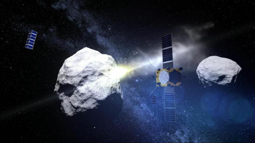 ASTEROIDEKOLLISJON: Samarbeidsprosjektet mellom amerikanske og europeiske eksperter går ut på at de skal sende opp en farkost som skal kollidere med en liten asteroide kalt «Didymoon». Foto: ESA - ScienceOffice.org