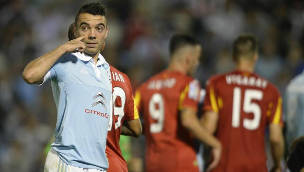 MÅLLØS: Iago Aspas og resten av Celta Vigo klarte ikke å få ballen i mål mot Getafe. Foto:  AFP PHOTO / MIGUEL RIOPA