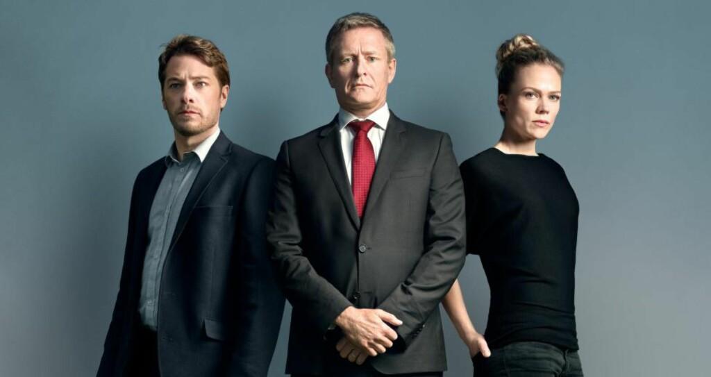 POPULÆRT: Premieren av «Okkupert» ga gode seertall for TV 2. Her med skuespillerne Eldar Skar, Henrik Mestad og Ane Dahl Torp. Foto: TV 2