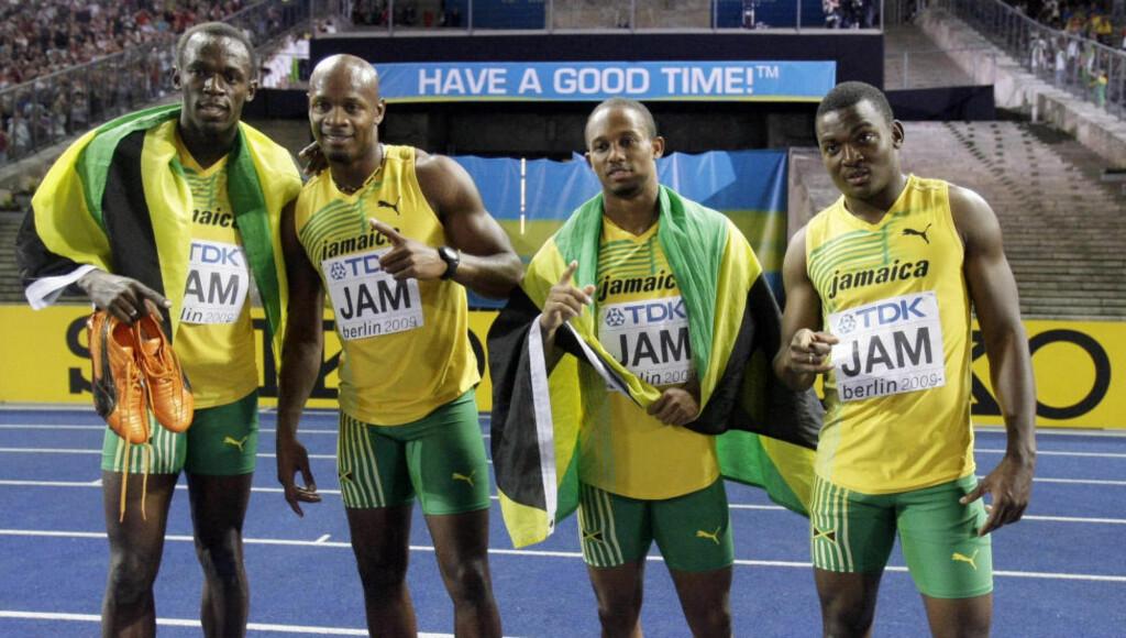 BYTTET: Steve Mullings (f.v) mener at Jamaica har byttet hans prøver med Asafa Powells (2. f.h). Foto: NTB Scanpix