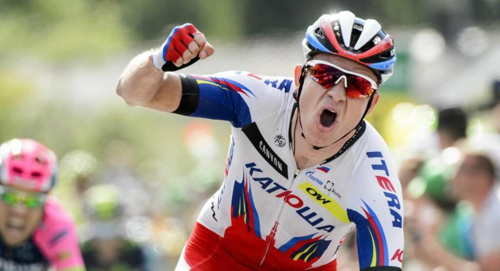 JUBEL I ITALIA? Neste år Giro d'Italia-start burde passe Kristoff ypperlig. Her fra etappeseieren i årets Sveit rundt. Foto: JEAN-CHRISTOPHE BOTT (Scanpix/Epa)