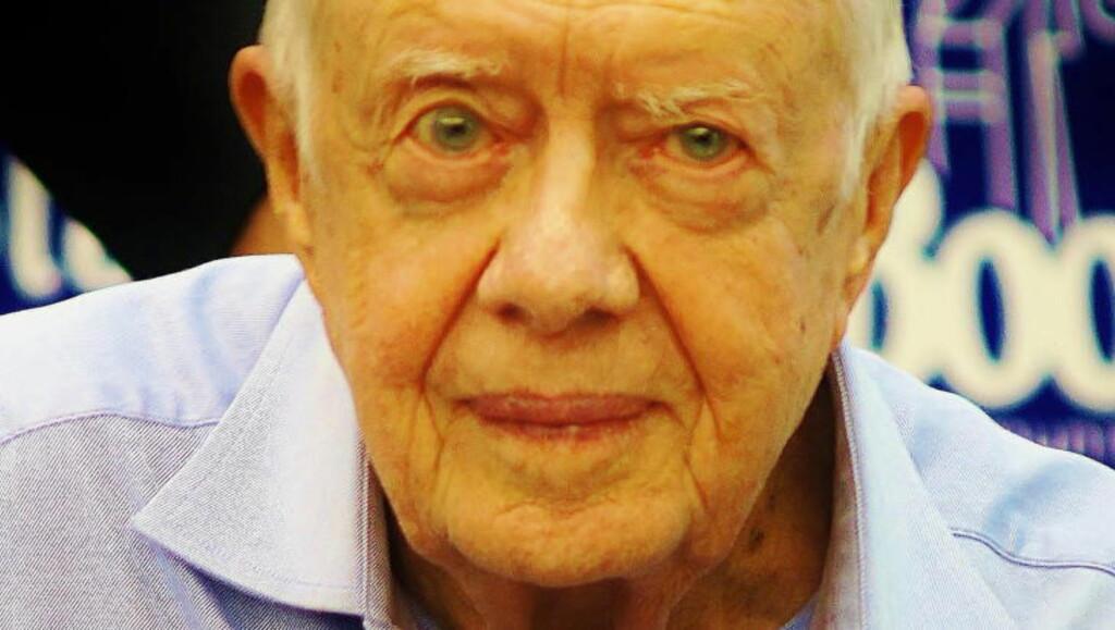 FREDSPRISVINNER: Tidligere amerikansk president Jimmy Carter fikk fredsprisen i 2002 for sitt arbeid som fredsmegler. Foto: Globe-ZUMA/Scanpix