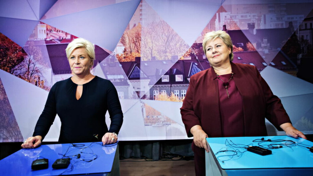 NYE SKATTEKUTT: Finansminister Siv Jensen og statsminister Erna Solberg vil foreslå nye, store skattelettelser når forslaget til statsbudsjett legges fram i morgen. Deriblant nye kutt i formuesskatten på omlag 1,1 milliarder kroner. Foto: Nina Hansen / Dagbladet