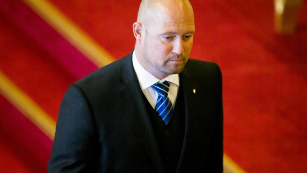 HØRING: Justisminister Anders Anundsen (Frp) er innkalt til høring i Stortinget om de mange vådeskuddepisodene og den midlertidige bevæpningen. Foto: Vegard Wivestad Grøtt / NTB scanpix Foto: Vegard Wivestad Grøtt / NTB scanpix