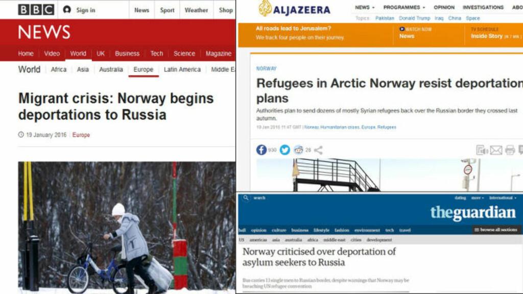 SKRIVER OM ASYLPRAKSIS:  BBC, Al-Jazeera og The Guardian er noen av avisene som skriver om at Norge sender asylsøkere tilbake til Russland.