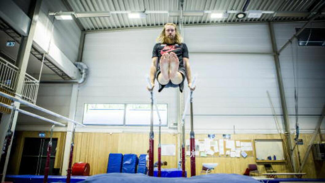 LANG REHAB: Helt siden hofteoperasjonen sist høst, har Andreas Thorkildsen drevet med rehabiliteringstrening. Først nå kan han begynne å ta litt mer i. Foto: Christian Roth Christensen