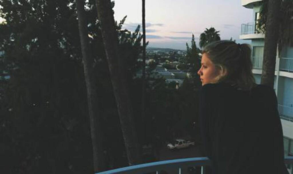 I LA: Denne uken er Dagny Norvoll Sandvik i Los Angeles for å gå på musikkrelaterte møter. Med hvem vil hun ikke si noe om. Foto: Privat