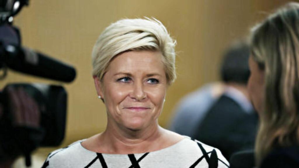 I RAMPELYSET: Siv Jensen og statsbudsjettet har vært på alles lepper det siste døgnet. Foto: Tomm W. Christiansen / Dagbladet