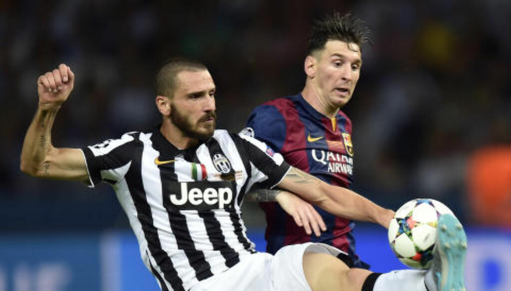 FORSVARSBAUTA: Leonardo Bonucci har blitt en klippe i Juventus- og Italia-forsvaret etter at han tidligere var lagkamerat med Søderlund. Her i duell med Barcelonas Lionel Messi under Champions League-finalen i mai. Foto: Scanpix