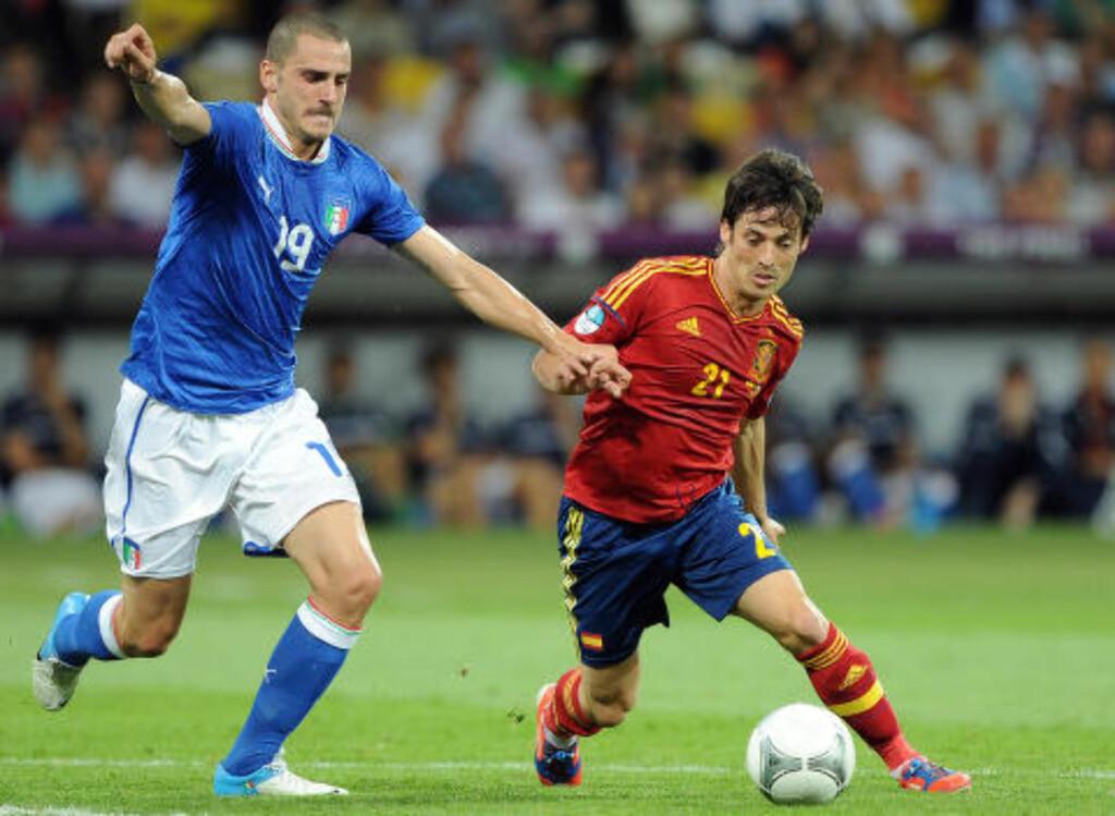 HAR SPILT EM-FINALE: Bonuccis Italia tapte mot Spania og David Silva i 2012. Foto: Scanpix