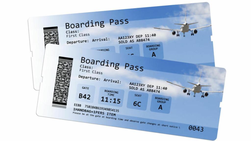 VERDIDOKUMENT: - Mange er nok ikke klar over hva boardingkortet inneholder. Du skal ta vare på boardingkortet som et verdidokument og vokte deg for å dele det med andre, sier informasjonssjef i SAS, Knut Morten Johansen. Illustrasjonsfoto: NTB SCANPIX