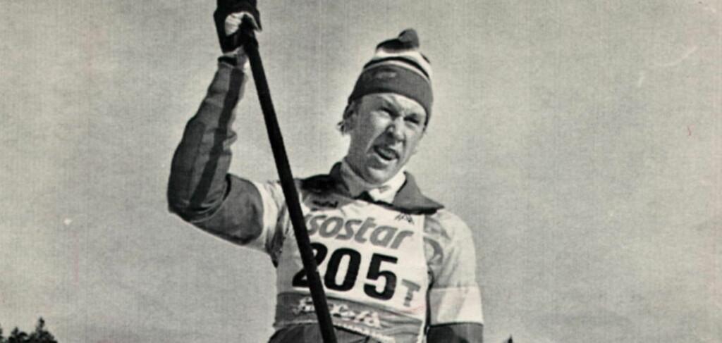 HAN TULLET MED OSS:  Gunde Svan brukte bare en lang stav i treningen under ski-VM 1985. Det var en stygg fleip. FOTO: Dagbladet.
