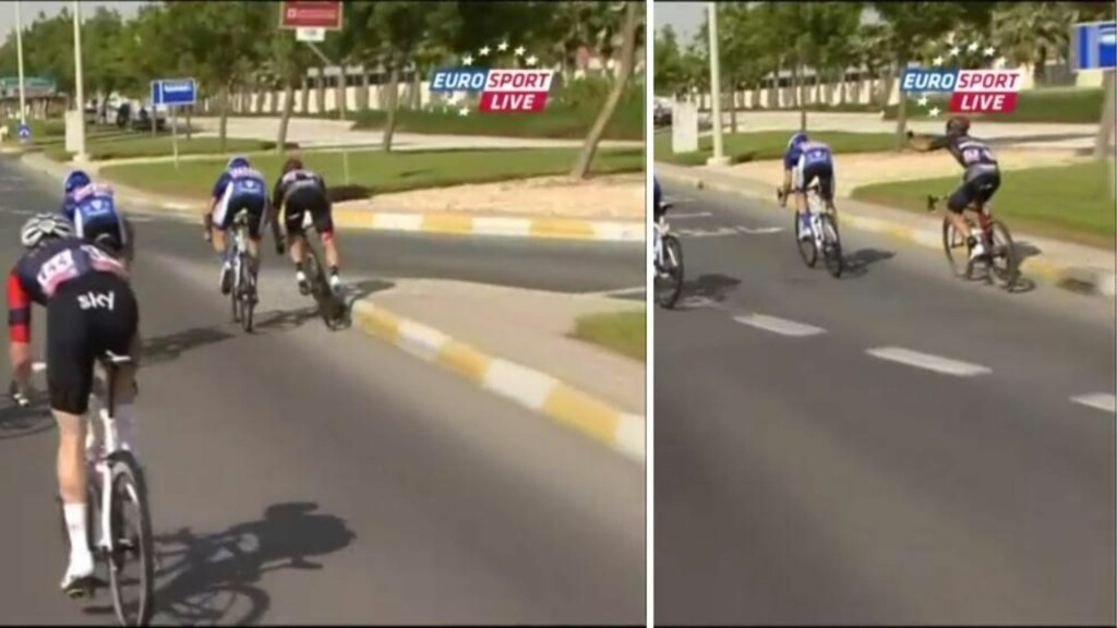 SUR: Paul Voss var lite fornøyd med Federico Zurlos manøver, som gjorde at tyskeren nesten gikk i asfalten. Foto: Skjermdump med tillatelse fra Eurosport