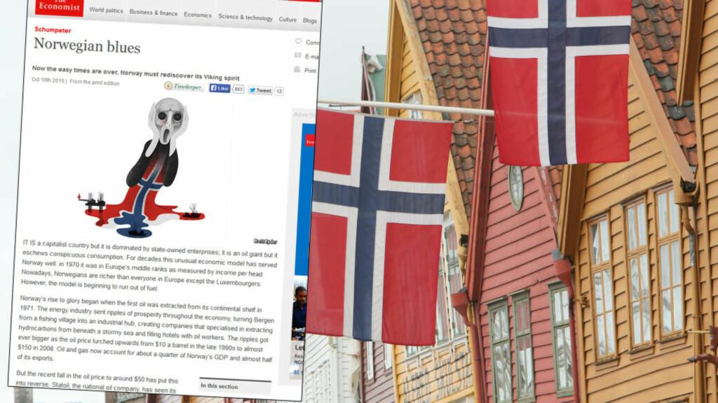 NORGE:  The Economist vier mye spalteplass på både nett og i sitt magasin til å analysere norsk økonomi, og hvorfor de mener det ikke kan gå stort lengre. Foto: Faksimile / NTB Scanpix