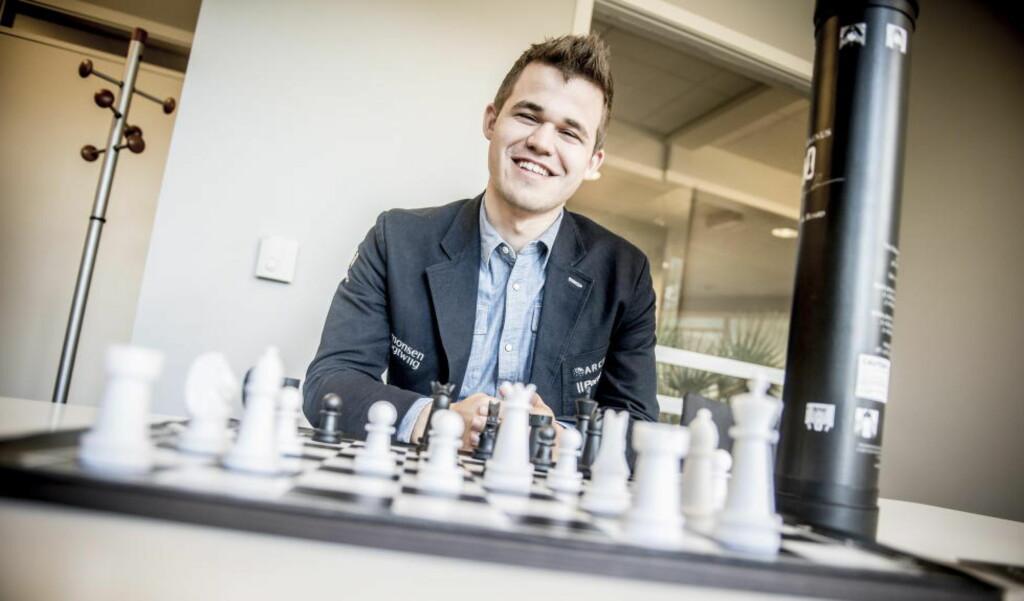 OK START: Magnus Carlsen i hurttigsjakk-VM. Foto: Thomas  Rasmus Skaug / Dagbladet
