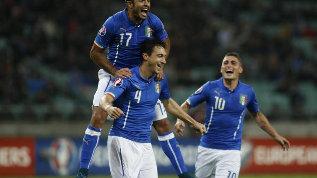 EM-KLARE: Italia er kvalifisert for fotball-EM i 2016 etter 3-1-seier borte mot Aserbajdsjan lørdag. Italienerne spiller dermed uten press mot Norge tirsdag. Foto: REUTERS/David Mdzinarishvili