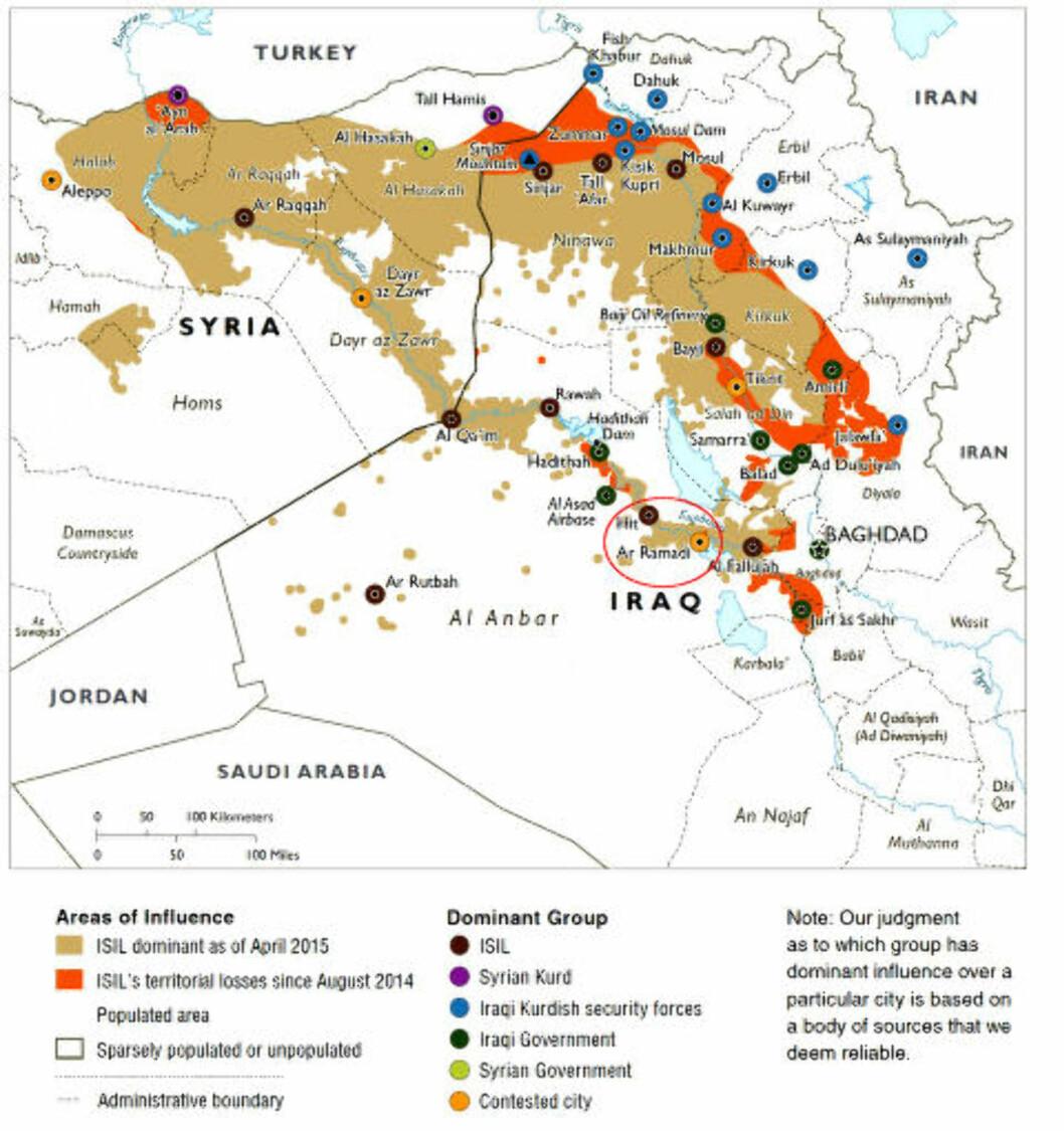 <strong>- HER BLE HAN ANGREPET:</strong>  Dette kartet fra april viser områdene IS holdt da (beige) og områdene de har mistet siden USA startet luftangrepene mot terrorgruppa i august i fjor (oransje). al-Baghdadi skal ha blitt angrepet nær Ramadi i Anbar-provinsen. Foto: Det amerikanske forsvarsdepartementet