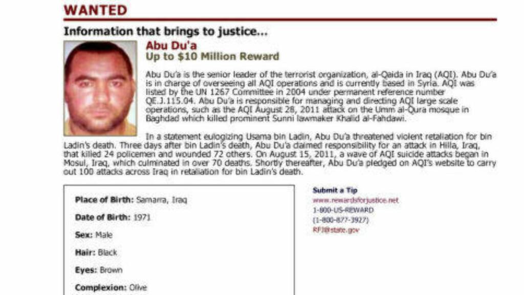 ETTERLYST:  USAs utenriksdepartement har satt en dusør på 10 millioner dollar for informasjon som leder dem til IS-lederen. Foto: REUTERS / NTB SCANPIX
