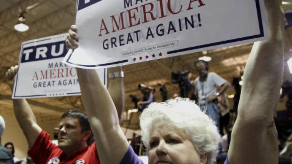 LEDER: Trump leder blant de republikanske kandidatene. Her fra Georgia i går.orgia October 10, 2015.  Foto: Reuters / NTB Scanpix