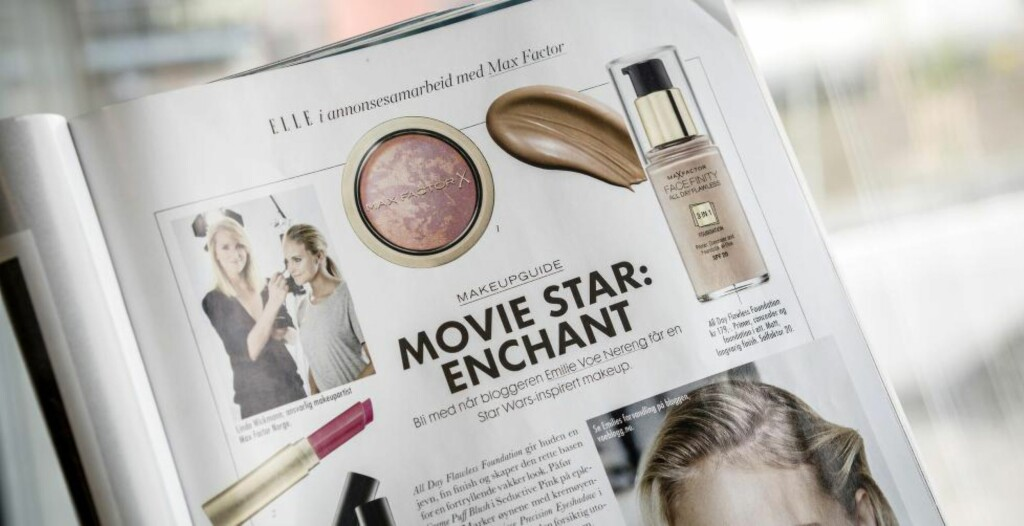 SMINKEANNONSE: Nyeste Elle har en «makeup-guide» som viser seg å være reklame for Max Factor. Foto: Øistein Norum Monsen.
