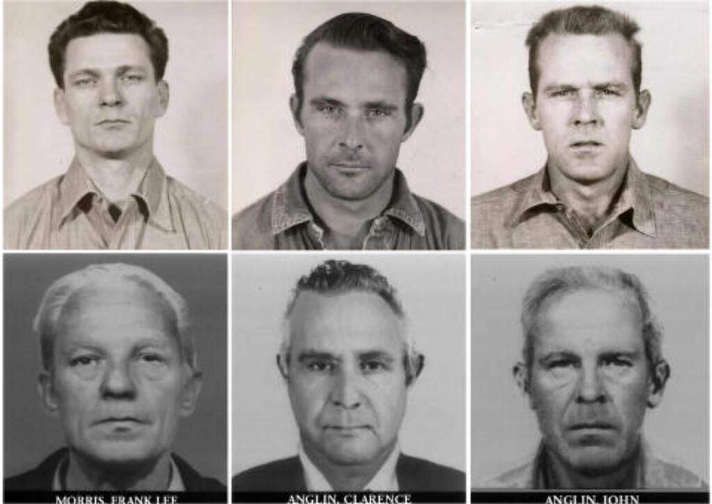 I LIVE?: Disse bildene viser Frank Lee Morris, Clarence Anglin og John Anglin, både i sine yngre og eldre dager. Likene ble aldri funnet, og nå hevder Anglin-familien å kunne bevise at de overlevde flukten fra Alcatraz. Foto: /U.S. Department of Justice / Reuters / NTB Scanpix