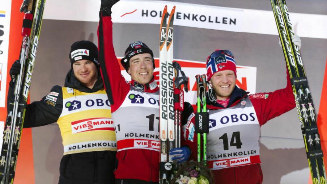 <strong>VAR BEST:</strong> For fire år siden vant Eldar Rønning femmila i Holmenkollen foran Dario Cologna og Martin Johnsrud Sundby. I år er suverene Sundby storfavoritt, men Rønning tror han kan bli bedre enn verdenseneren igjen. Foto: Erlend Aas / Scanpix