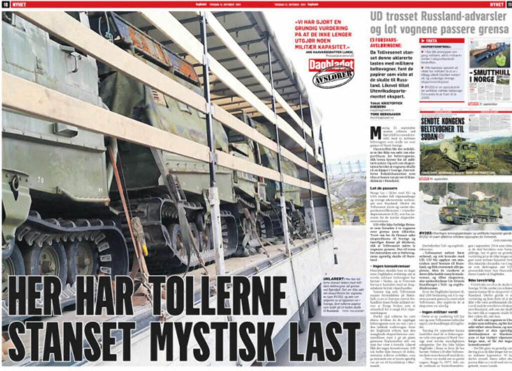 I DAG: Dagbladet kan avsløre at UD så sent som i slutten av september tillot eksport av beltevogner tollvesenet mistenkte skulle til Russland. Faksimile: Dagbladet 13. oktober 2015