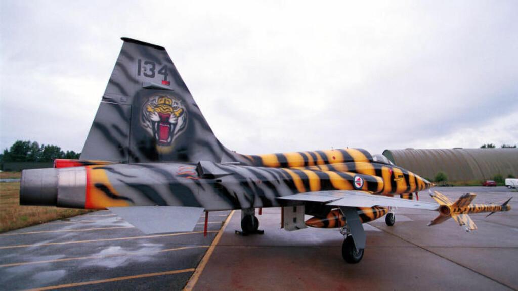 TIGERSKVADRONEN: F-5 var i operativ drift fram til 1990, bortsett fra «Tigerskvadronen på Rygge» som opererte flyene fram til 2000. Foto: Forsvaret
