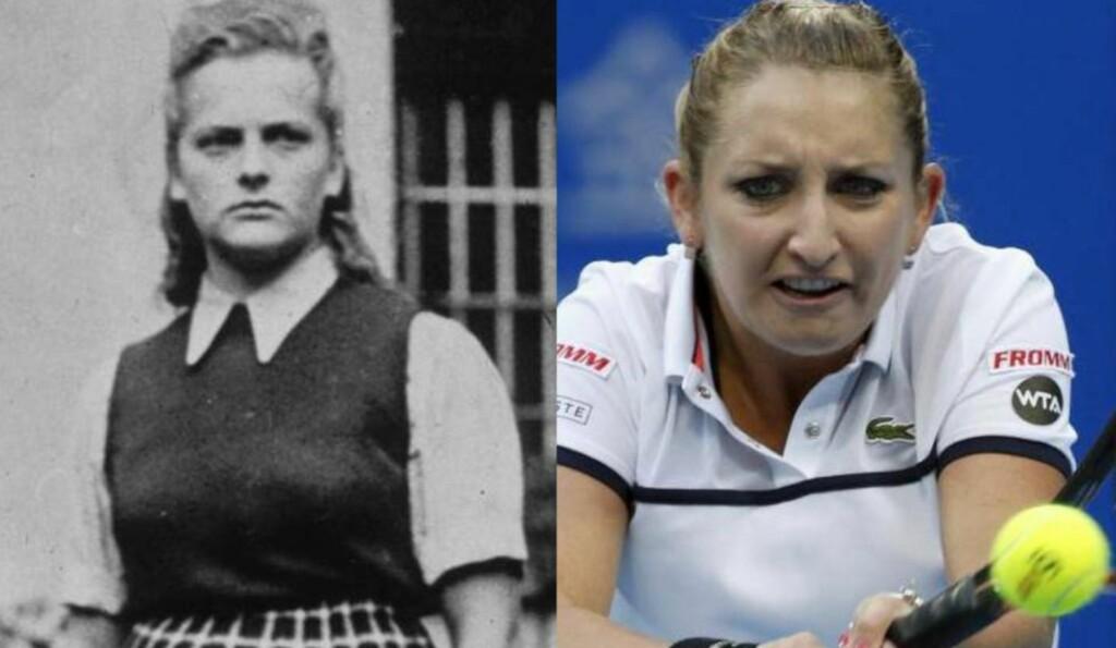 KRITISK: En spansk avis sammenlignet tennisspilleren  Timea Bacsinszky (t.h.) med den brutale nazisten Irma Grese under finalen i WTA-turneringa i Beijing nylig. Foto: NTB Scanpix