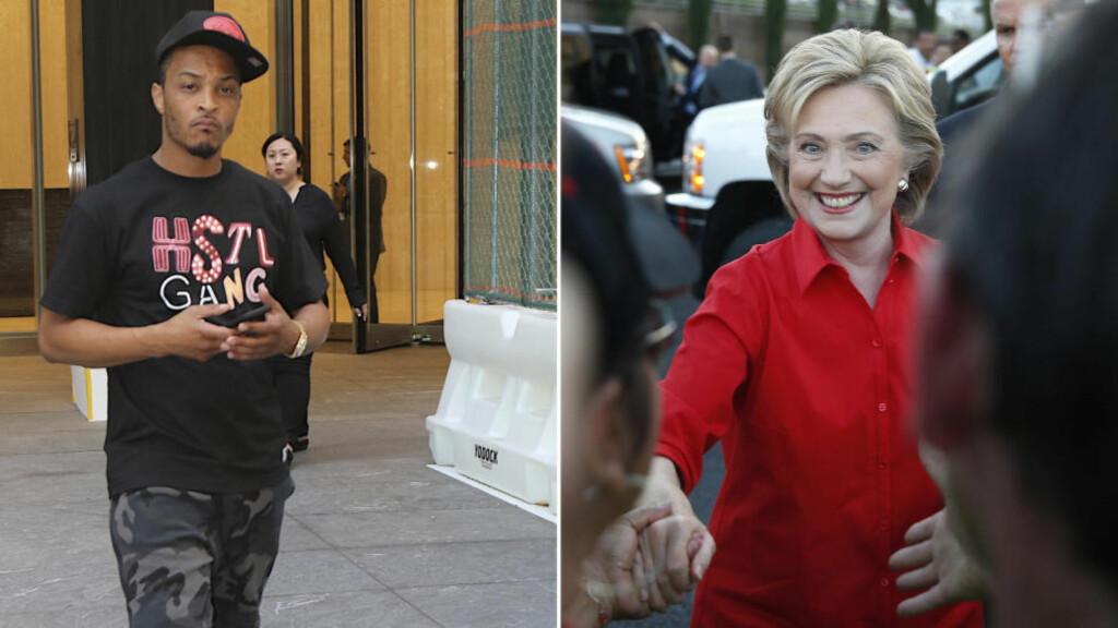 ANGRER: Den amerikanske rapperen T.I. angrer nå på uttalelsene han kom med om den demokratiske presidentkandidaten Hillary Clinton. Foto: Splash News/ AP / NTB Scanpix
