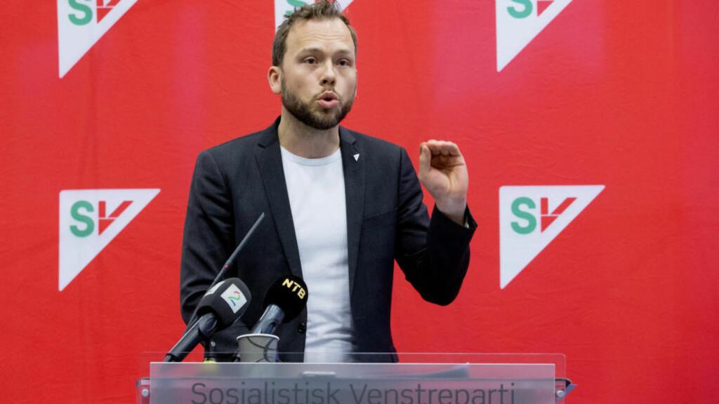 HARDT UT:  I en tale til SVs Landsstyremøte fredag gikk SV-leder Audun Lysbakken knallhardt ut mot både Ap, KrF og Venstre. Foto: Håkon Mosvold Larsen / NTB scanpix