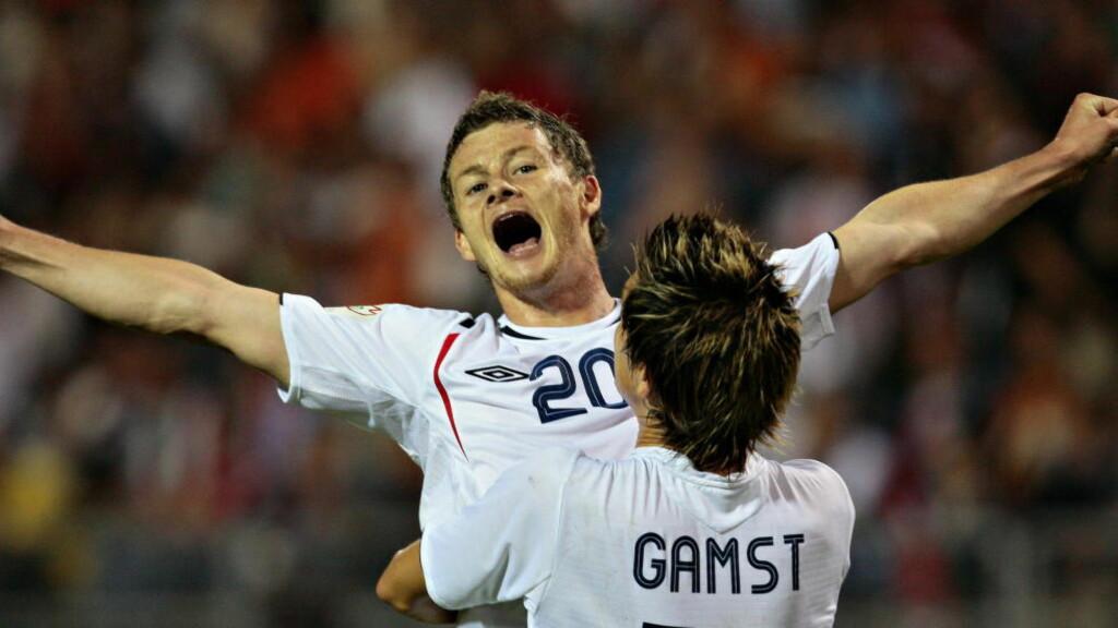 FINALEMÅLET: Ole Gunnar Solskjærs siste landslagsmål kom mot Ungarn i Budapest i 2006. Mot Gabor Kiraly - joggebuksekeeperen som fortsatt er en del av det ungarske landslaget. Foto: Arnt E. Folvik