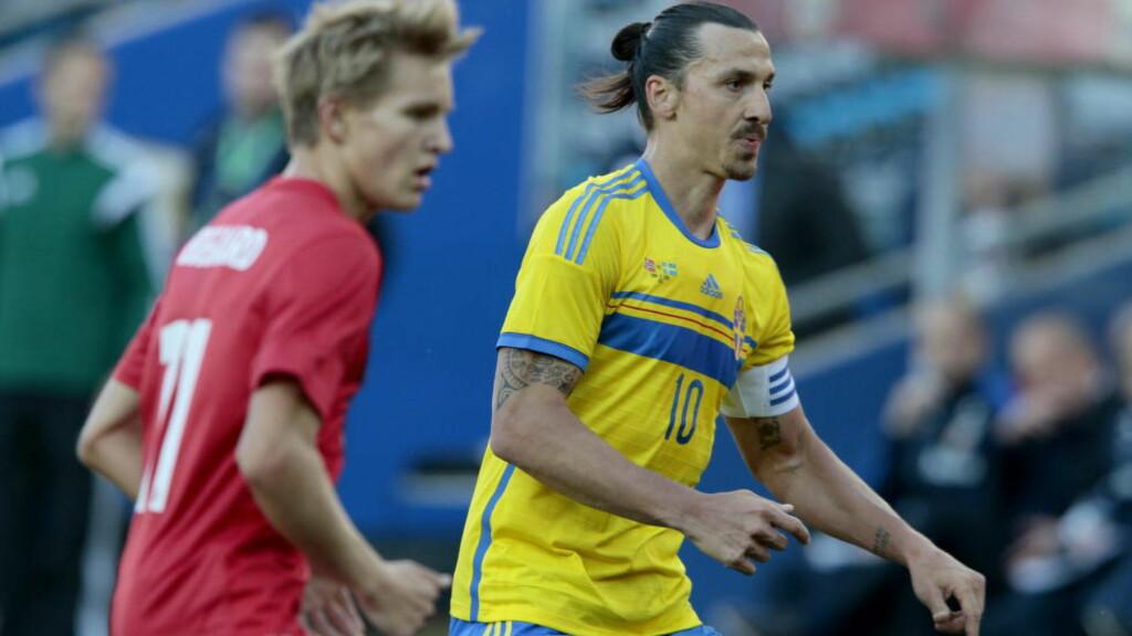 VIL IKKE MØTE MARTIN. Zlatan vil helst ikke møte Norge eller Danmark i playoff. Han vil heller ha det morsomt med å møte en ny motstander. Foto: Bjørn Langsem / Dagbladet