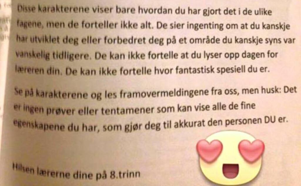 BREVET: Alle elevene i åttende klasse på Alstad ungdomsskole i Bodø fikk dette brevet tildelt sammen med karakterkortet sitt før jul. Bildet ble lagt ut på Facebook av Heidi Einarson.