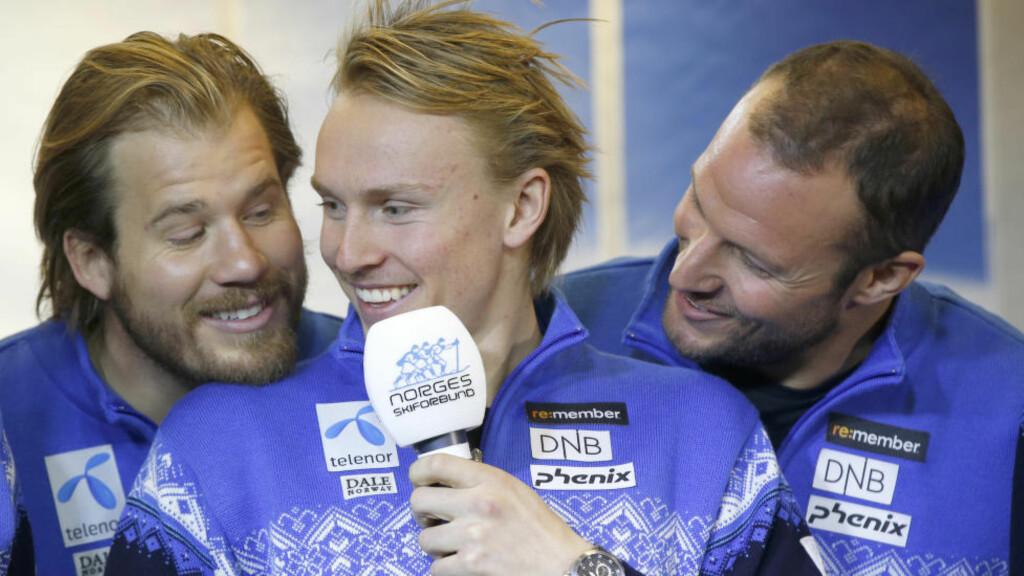 TRENGER HJELP:  Mens Kjetil Jansrud (t.v) og Aksel Lund Svindal (t.h) konkurrerer i de samme disiplinene, kan Henrik Kristoffersen være nøkkelen til at en av de to vinner verdenscupen sammenlagt. Foto: Vidar Ruud / NTB scanpix