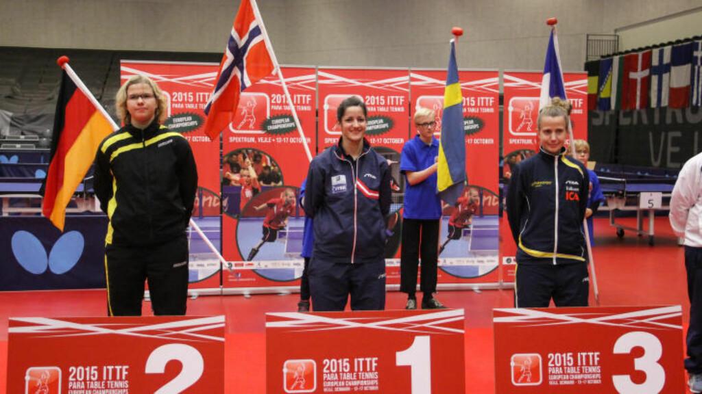 RETT FØR ET STOLT ØYEBLIKK: Aida Dahlen klar for sin første internasjonale topplassering. et kommer flere. FOTO: Caroline Dokken Wenelborg/NIF.
