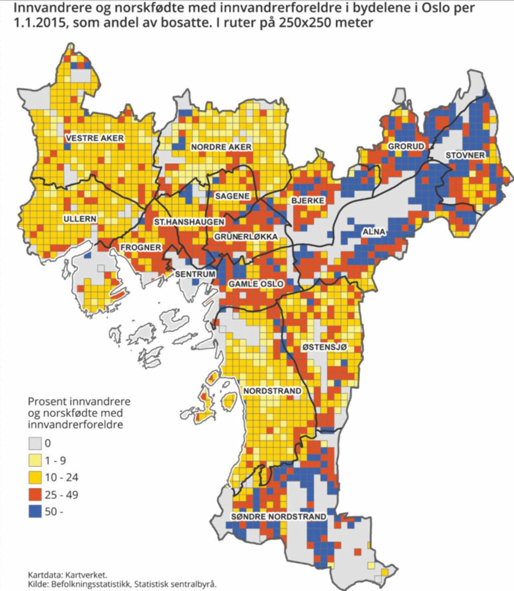 søndre nordstrand kart Dette kartet viser økningen i andel innvandrere i Oslo   Dagbladet søndre nordstrand kart