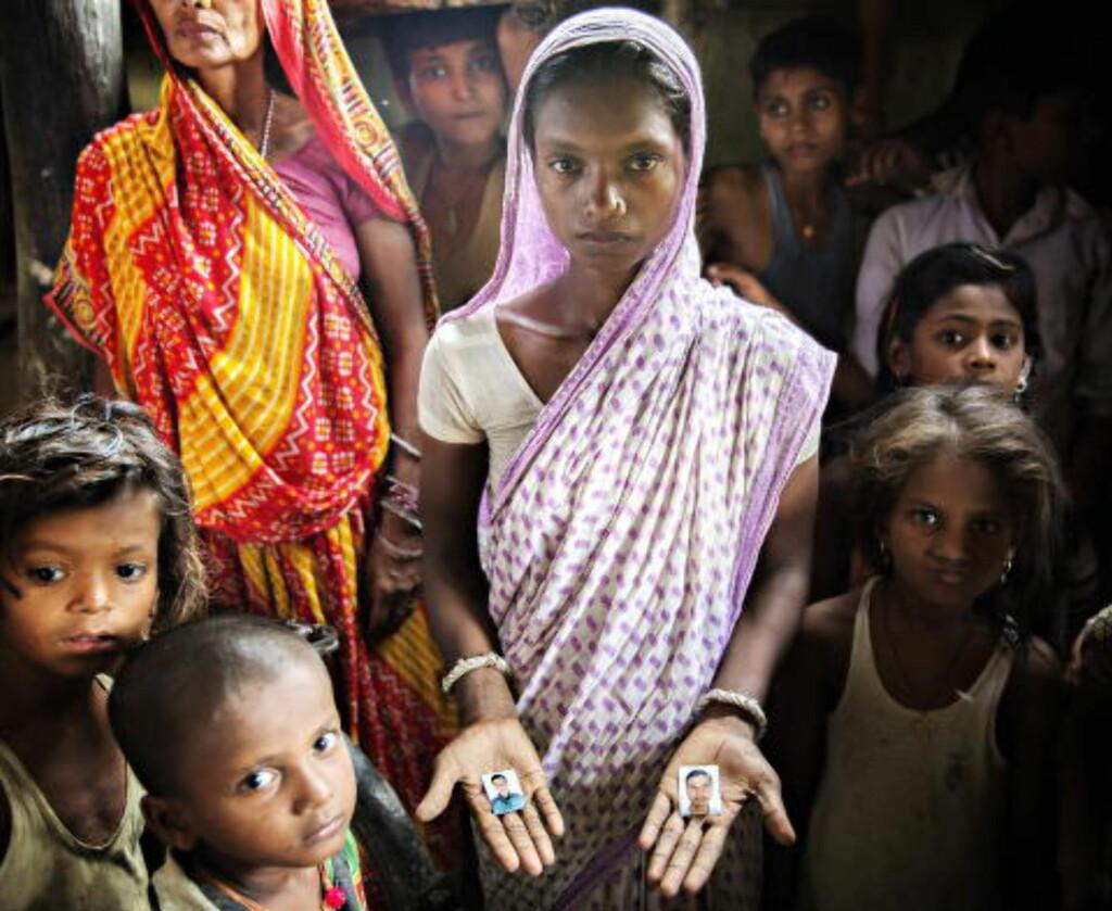 MISTET MANNEN: I dokumentaren møter du Indu Kumari Ray (23), som er trebarnsmor, enke og analfabet etter at mannen mistet livet i Qatar.