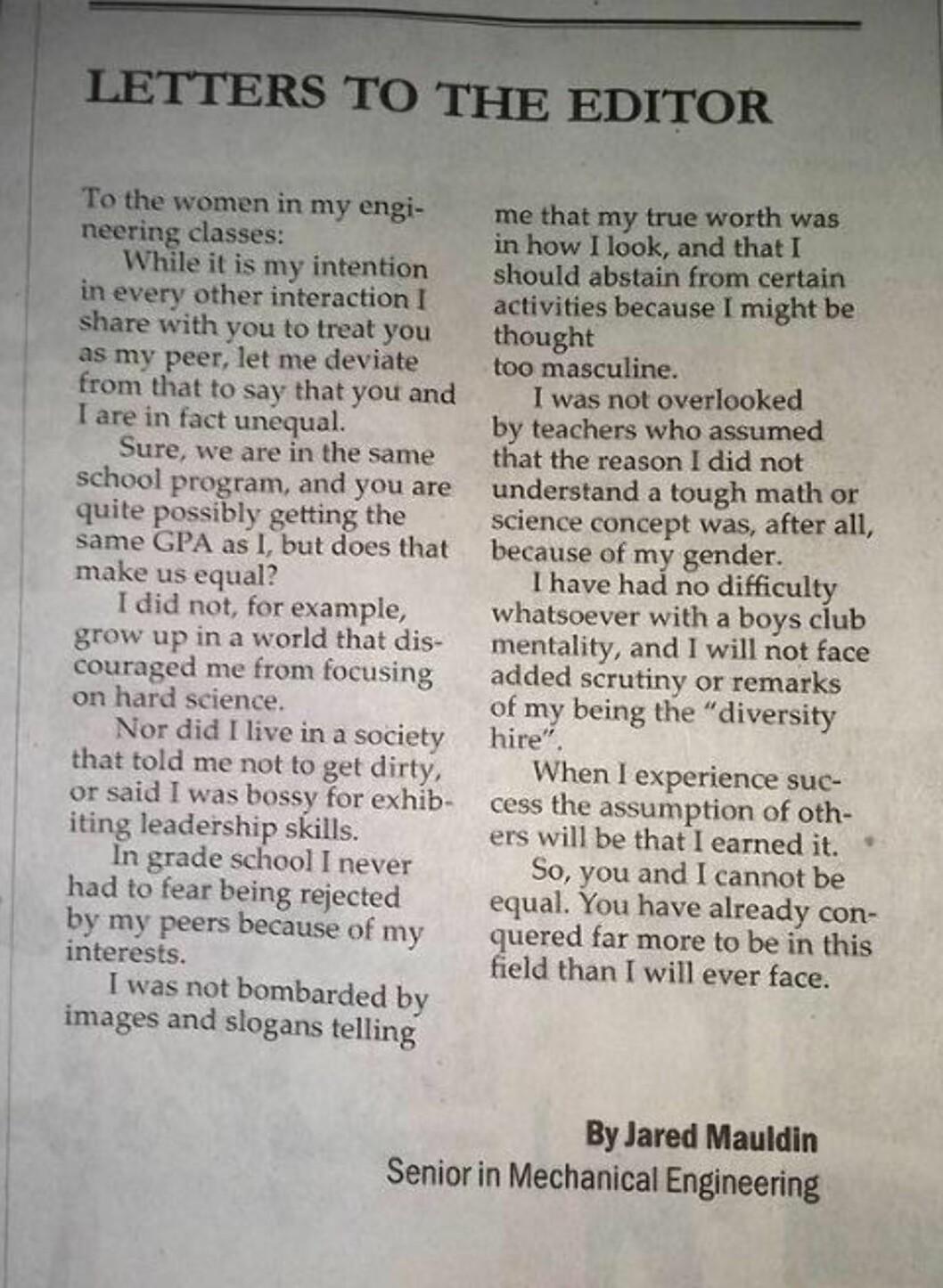 IKKE LIKEVERDIGE: Mauldin sendte brevet til avisas redaktør, og forklarte i korte ordelag hvorfor han og hans kvinnelige medstudenter ikke på noen måte er likeverdige. Foto: The Easterner