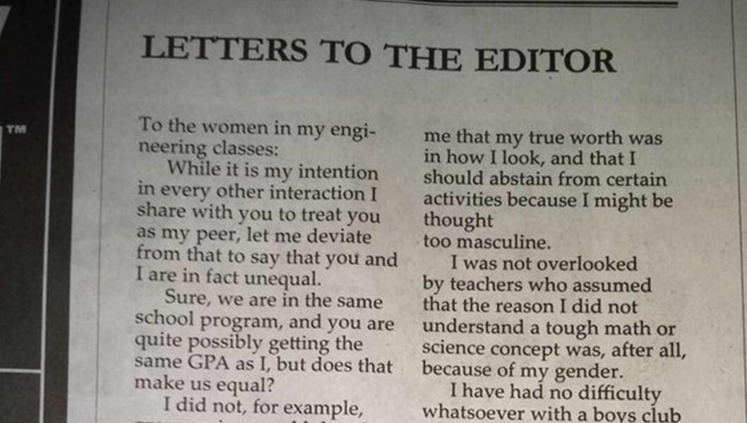 BREV: Jared Mauldin skrev et åpent brev til sine kvinnelige medstudenter på ingeniørlinja ved Easter Washington University. Det har nå gått viralt. Foto: The Easterner
