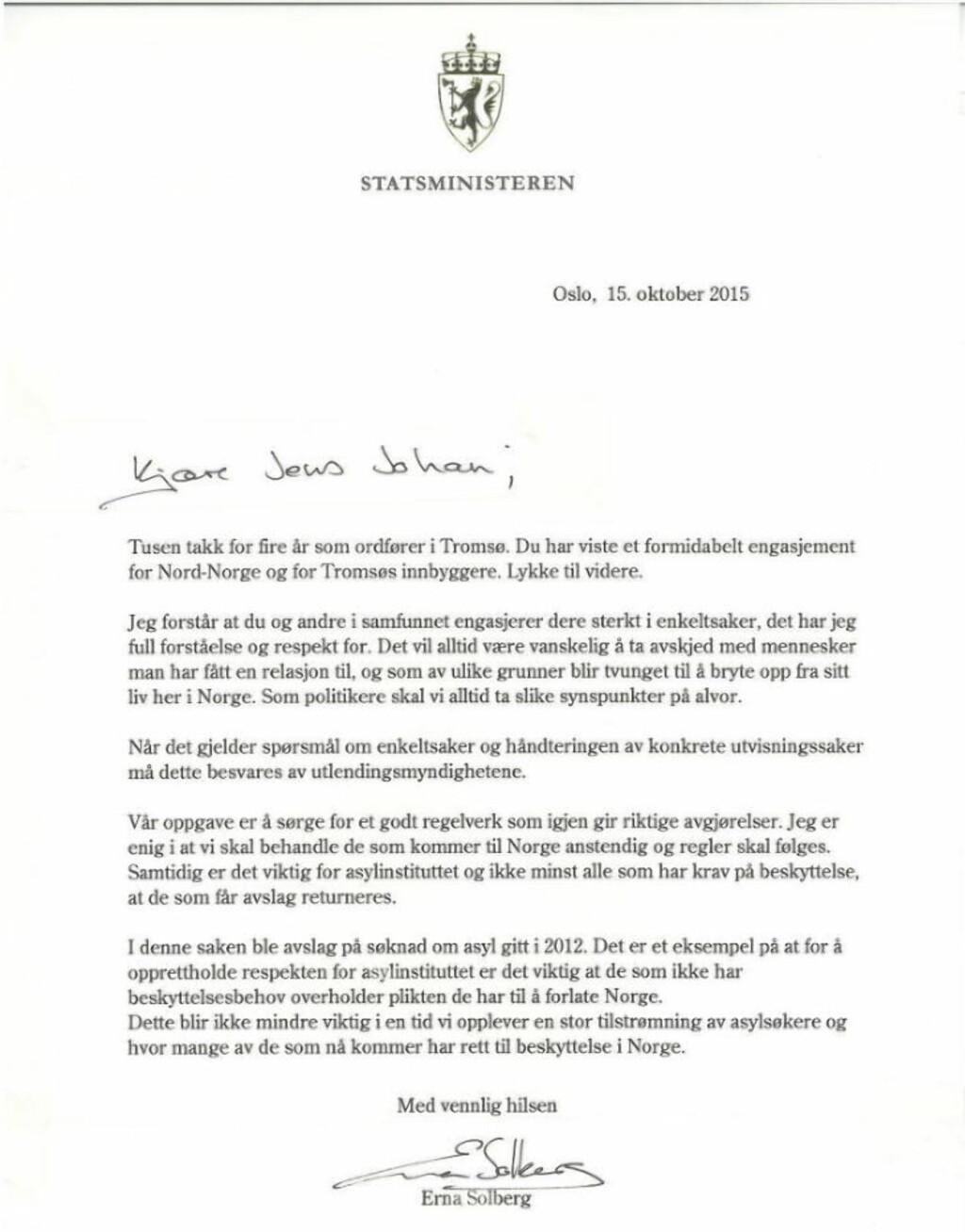 image: Gikk av med rasende brev til Solberg i går. I dag kom svaret fra statsministeren