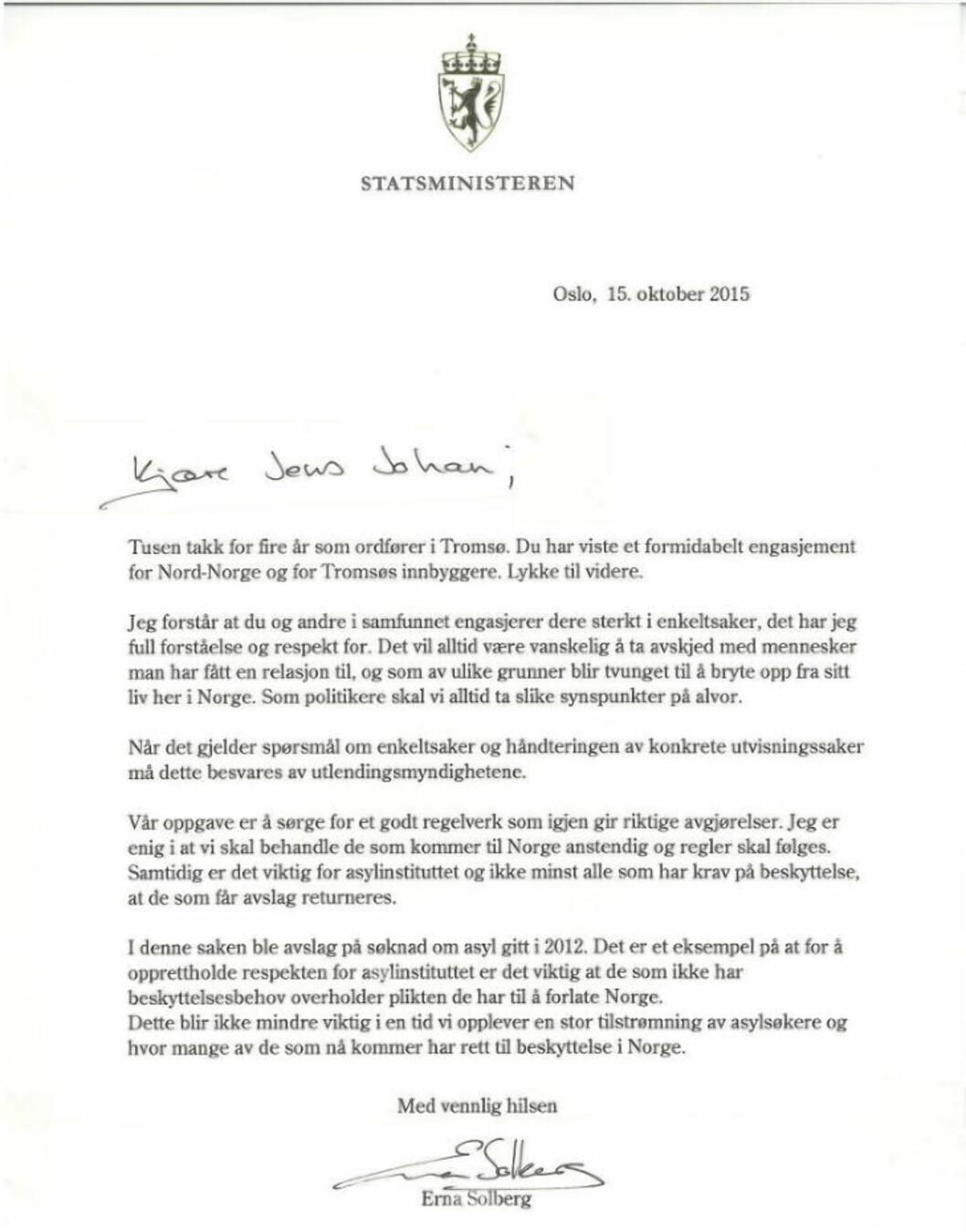 Gikk av med rasende brev til Solberg i går. I dag kom svaret fra statsministeren