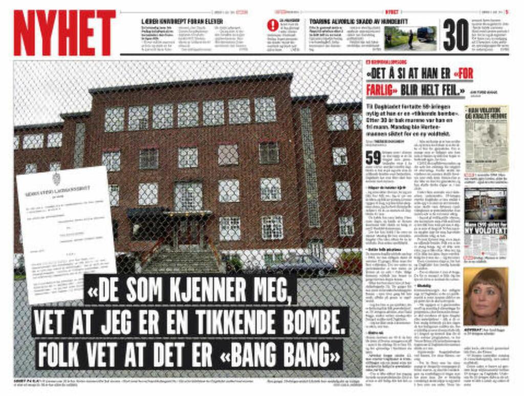 SNAKKET MED DAGBLADET: Den nå 60 år gamle mannen snakket mye med Dagbladet i tida da han var tilbake i frihet i Horten i fjor sommer. Faksimile: Dagbladet