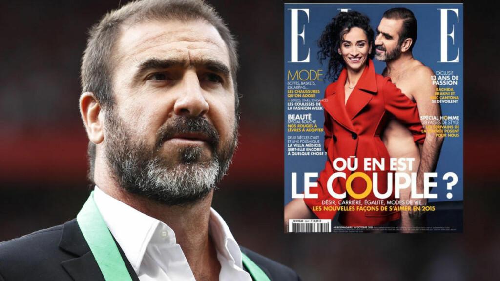 PRYDER FORSIDEN: Eric Cantona stiller kliss naken på forsiden av franske Elle sammen med skuespillerkona Rachida Brakni. Foto: AP/Skjermdump Elle