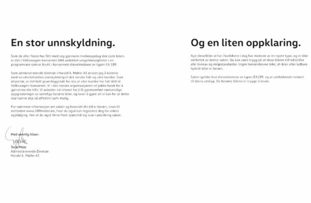 UNNSKYLDNING: Volkswagen-importør Harald A. Møller AS. beklager på annonseplass i dag.