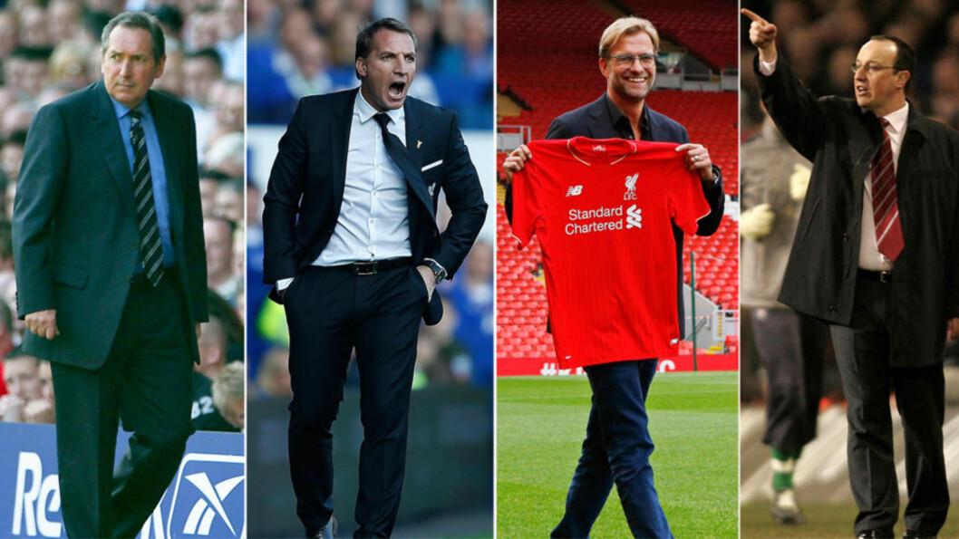 MÅ BRYTE BARRIERE: Ingen av de siste seks Liverpool-managerne vant sin debutkamp. Det gjelder blant andre Gerard Houllier (t.v), Brendan Rodgers (nummer to fra venstre) og Rafael Benitez (t.h). Fotomontasje: NTB Scanpix