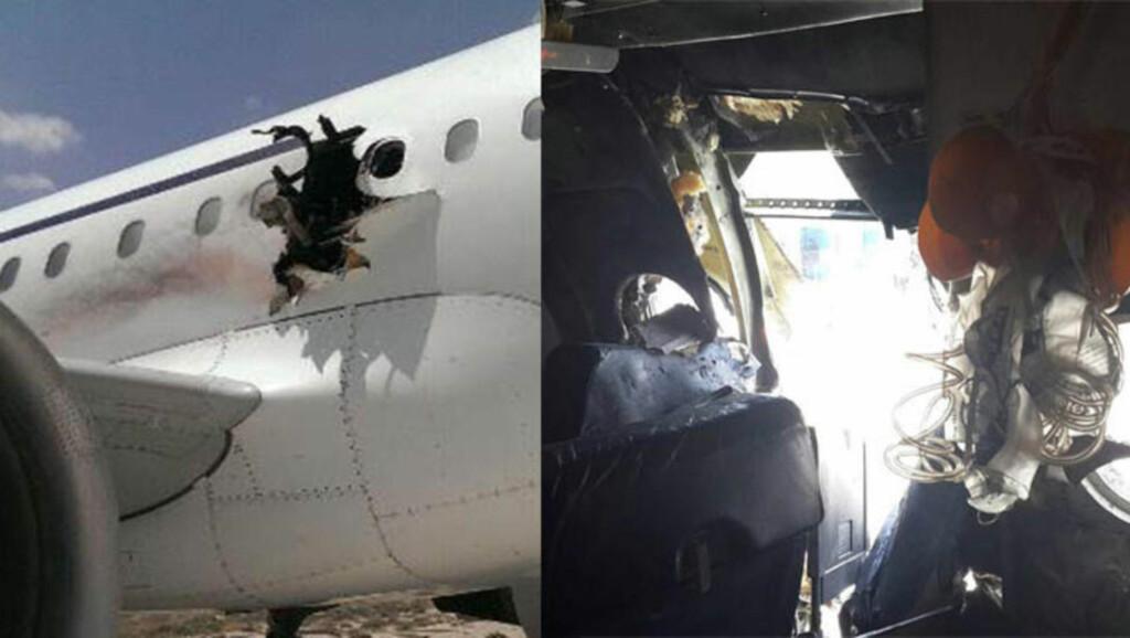 GAPENDE HULL: Kort tid etter avgang ble deler av skroget revet av Airbus A321-maskinen. Foto: Anadolu / NTB Scanpix